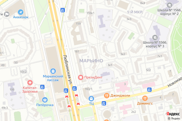 Ремонт телевизоров Район Марьино на яндекс карте