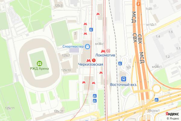 Ремонт телевизоров Метро Черкизовская на яндекс карте
