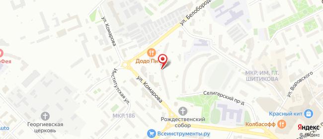 Карта расположения пункта доставки Мытищи Комарова в городе Мытищи