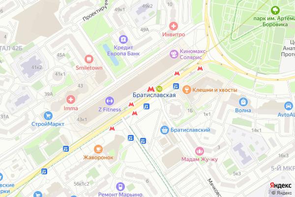 Ремонт телевизоров Метро Братиславская на яндекс карте