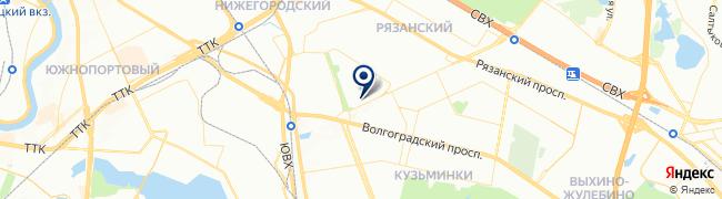 Расположение клиники Женская клиника «Медок» в Кузьминках