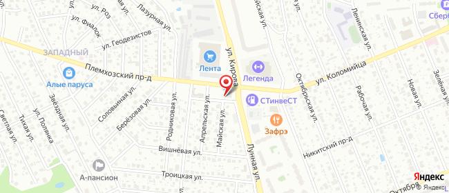 Карта расположения пункта доставки Халва в городе Западный