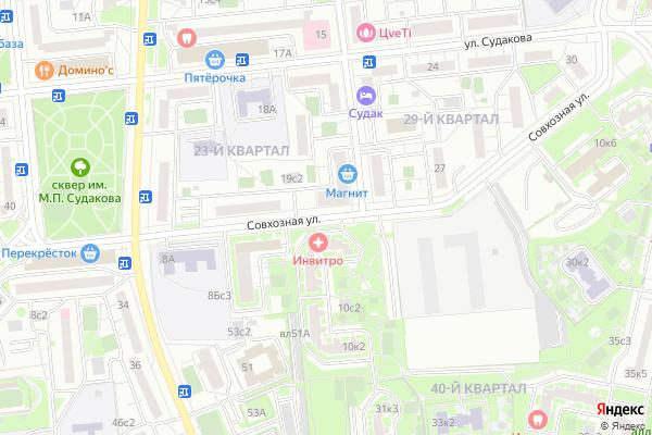 Ремонт телевизоров Улица Совхозная на яндекс карте