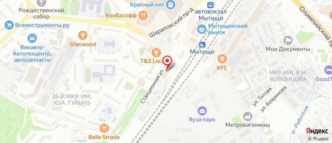 Карта расположения пункта доставки Мытищи Кирпичная в городе Мытищи