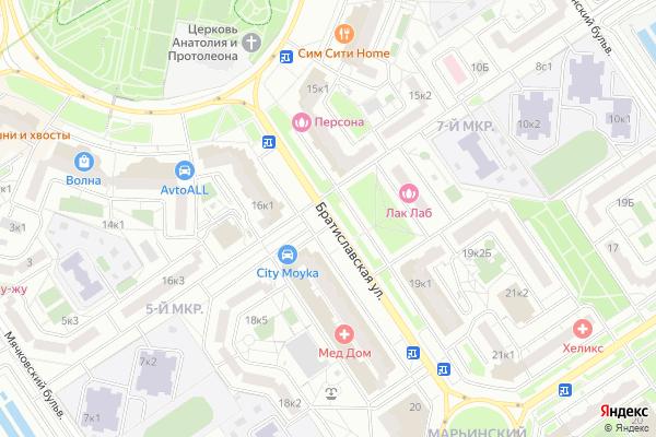 Ремонт телевизоров Улица Братиславская на яндекс карте