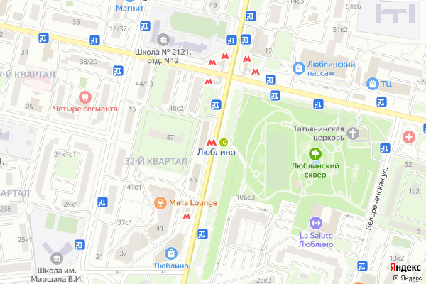 Ремонт телевизоров Метро Люблино на яндекс карте