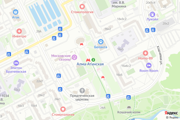 Ремонт телевизоров Метро Алма Атинская на яндекс карте