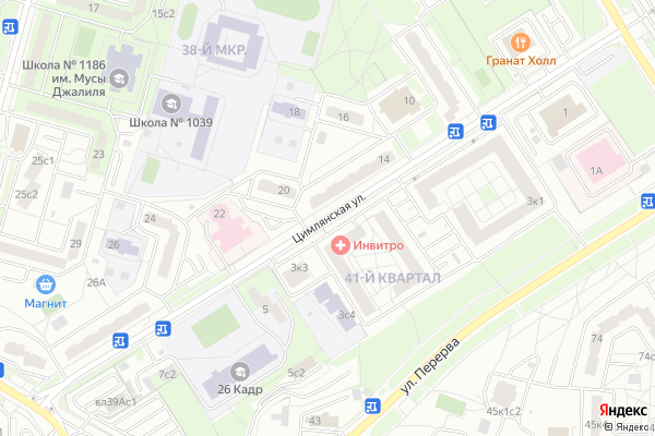 Ремонт телевизоров Улица Цимлянская на яндекс карте