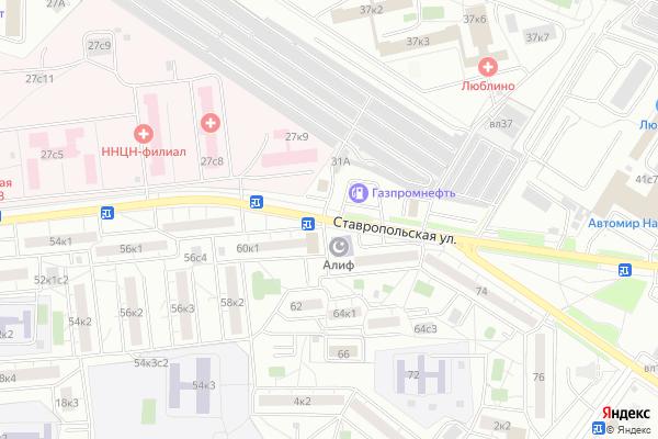 Ремонт телевизоров Улица Ставропольская на яндекс карте