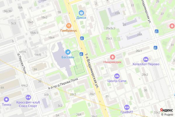 Ремонт телевизоров Улица 1 я Владимирская на яндекс карте