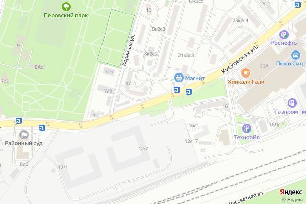 Ремонт телевизоров Улица Кусковская на яндекс карте
