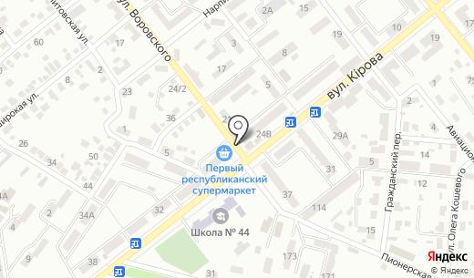 Киоск по продаже морепродуктов. Схема проезда в Донецке
