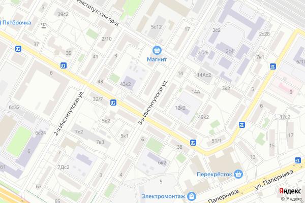 Ремонт телевизоров Улица 3 я Институтская на яндекс карте