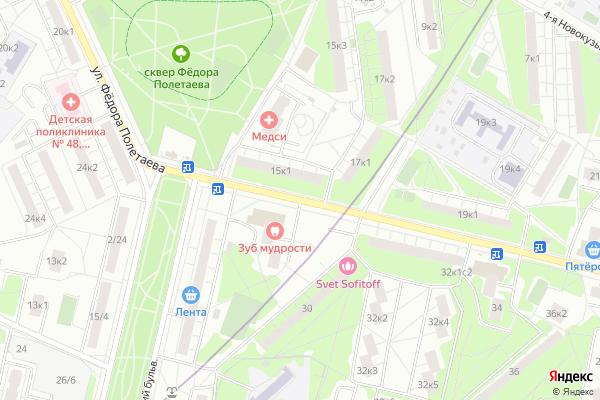 Ремонт телевизоров Улица Федора Полетаева на яндекс карте