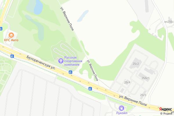 Ремонт телевизоров Улица Верхние Поля на яндекс карте
