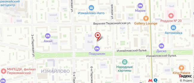 Карта расположения пункта доставки Москва Парковая 7-я в городе Москва