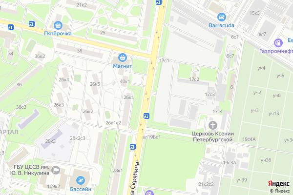 Ремонт телевизоров Улица Академика Скрябина на яндекс карте