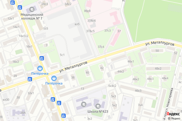 Ремонт телевизоров Улица Металлургов на яндекс карте