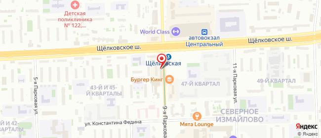 Карта расположения пункта доставки Москва Парковая в городе Москва