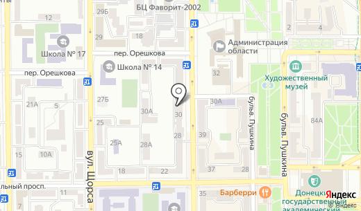 КБ Финансовая Инициатива ПАО. Схема проезда в Донецке