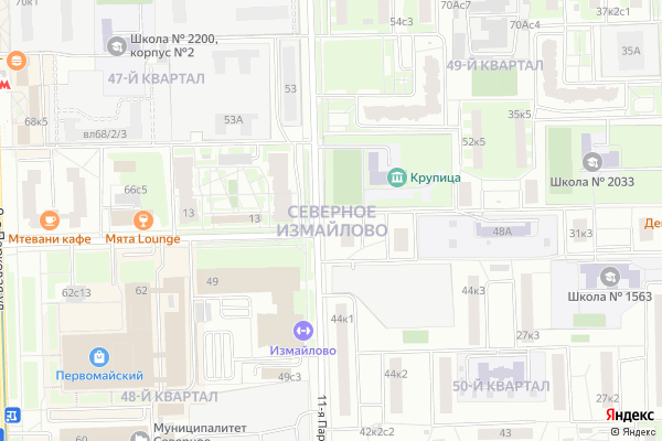 Ремонт телевизоров Район Измайлово Северное на яндекс карте