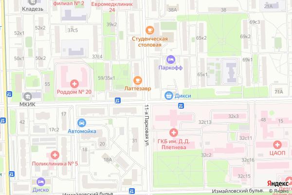 Ремонт телевизоров Улица 11 я Парковая на яндекс карте