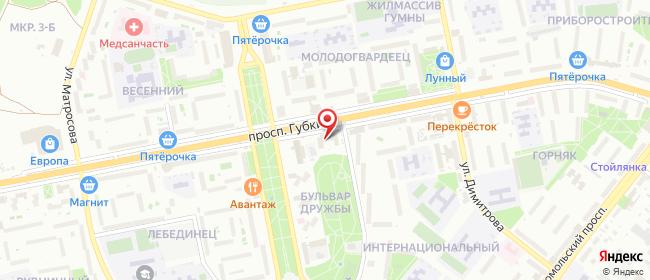 Карта расположения пункта доставки На Губкина в городе Старый Оскол