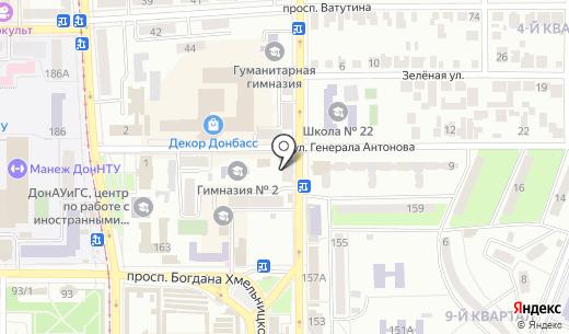 Банкомат Украинский профессиональный банк ПАО. Схема проезда в Донецке