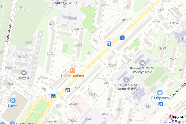 Ремонт телевизоров Улица Ташкентская на яндекс карте