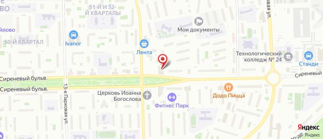 Карта расположения пункта доставки Москва Сиреневый Бульвар в городе Москва