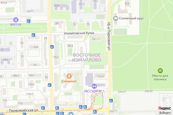 Ремонт телевизоров Район Измайлово Восточное на яндекс карте