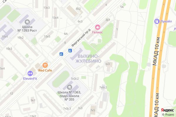 Ремонт телевизоров Район Выхино Жулебино на яндекс карте