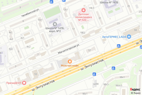 Ремонт телевизоров Улица Магнитогорская на яндекс карте