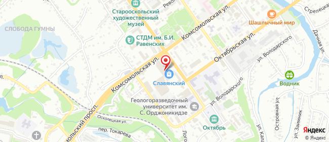 Карта расположения пункта доставки Пункт выдачи в городе Старый Оскол