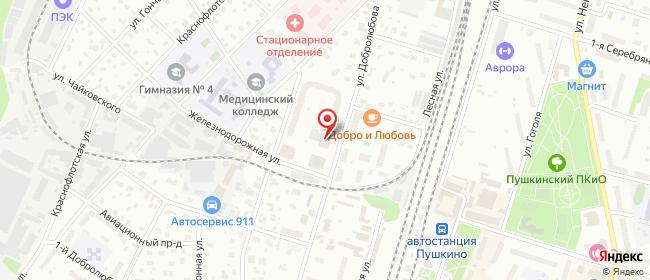 Карта расположения пункта доставки Пункт выдачи в городе Пушкино