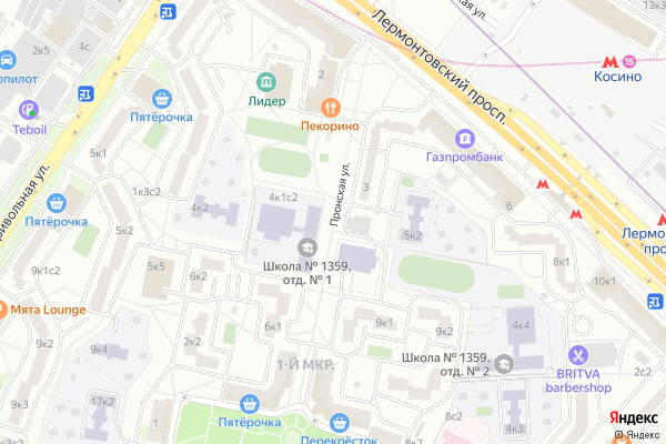Ремонт телевизоров Улица Пронская на яндекс карте