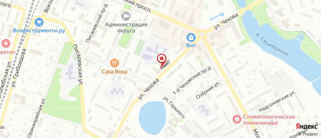 Карта расположения пункта доставки Ростелеком в городе Пушкино