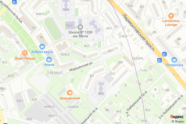 Ремонт телевизоров Улица Моршанская на яндекс карте