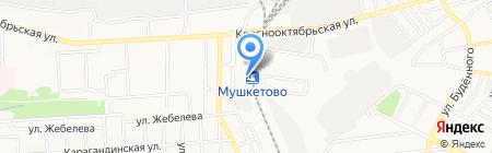 Мушкетово на карте Донецка