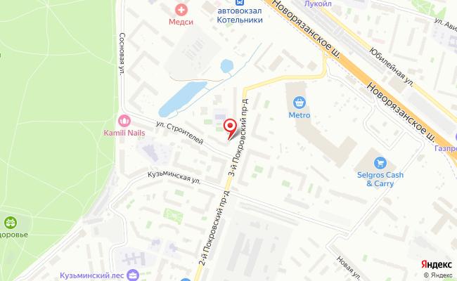 Карта расположения пункта доставки Ростелеком в городе Котельники