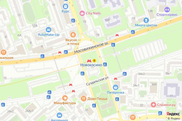 Ремонт телевизоров Метро Новокосино на яндекс карте