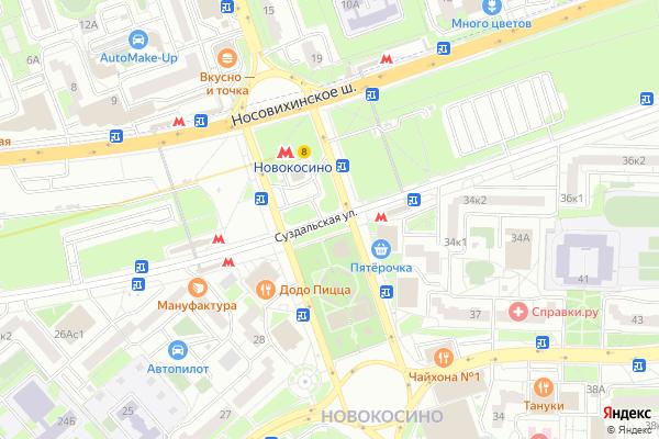 Ремонт телевизоров Улица Суздальская на яндекс карте