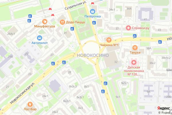 Ремонт телевизоров Улица Новокосинская на яндекс карте