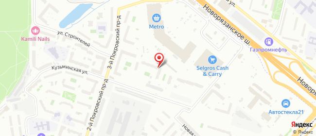 Карта расположения пункта доставки Котельники Кузьминская в городе Котельники