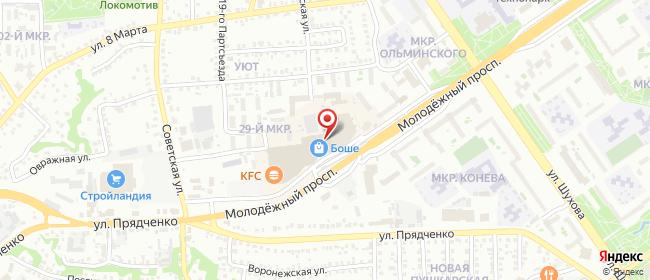 Карта расположения пункта доставки Билайн в городе Старый Оскол