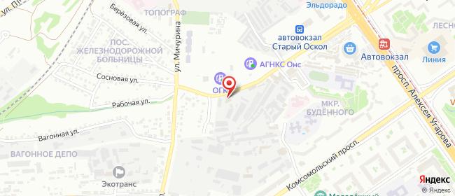Карта расположения пункта доставки DPD Pickup в городе Старый Оскол