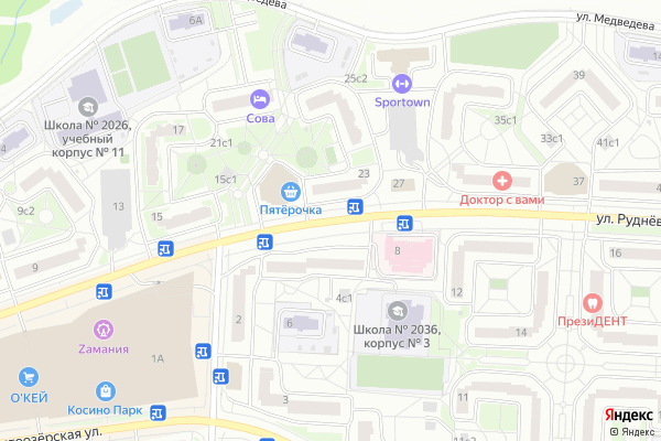 Ремонт телевизоров Улица Рудневка на яндекс карте