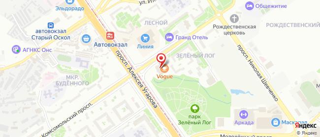 Карта расположения пункта доставки Старый Оскол Зелёный Лог в городе Старый Оскол