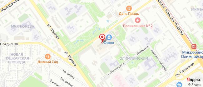 Карта расположения пункта доставки Старый Оскол Олимпийский в городе Старый Оскол