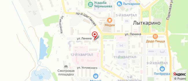 Карта расположения пункта доставки СИТИЛИНК в городе Лыткарино